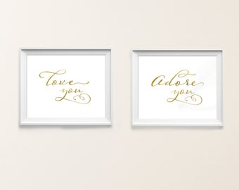 Valentines Day Prints. Gold typography prints. Home Decor. Wall Decor. Love. Adore. Nursery wall art. INSTANT DOWNLOAD Motif Visuals