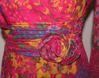 1970s Full Length Ruffles Rosette Vintage Floral Dress