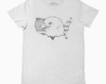 Bald Eagle USA Flag Red White & Blue Army America Donald Trump President Britain Patriot Brexit T-shirt Tee Top Shirt Movie Stipple Drawing