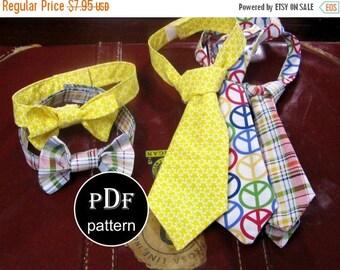 Toddler Boy Necktie and Bowtie PDF Sewing Pattern -Boys Sizes 12months through 8