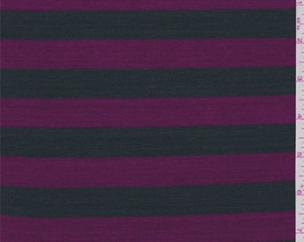 Magenta/Slate Stripe Sweater Knit, Fabric By The Yard