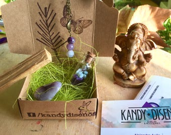 Crystal Box for Peace & Protection, Amethyst Moon Necklace, Amethyst Bottle, Crystal Stone, Palo Santo. Message in a bottle, gift pocket box