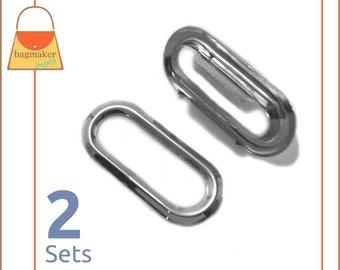 "1 Inch Oval Metal Grommet, Nickel Finish, Prong Applied, 2 Sets, Handbag Purse Bag Making Hardware Supplies, 1"", EGR-AA028"