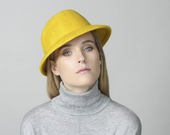 Yellow hat , Felt hat for women , Classic Felt hat , Winter hat , Women felt hat , Hand made hat , Millinery Justine hats