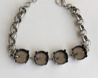 Bracelet Setting 14mm Empty Cup Chain Bracelet Setting, Antique Silver Ox, Bracelet Making, Jewelry Base, Rolo Chain, Empty Cupchain