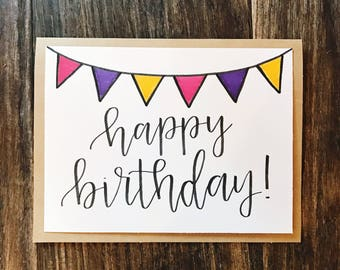 Set of 5 Happy Birthday Greeting Cards with Colored Flags - Handmade Calligraphy Birthday Card