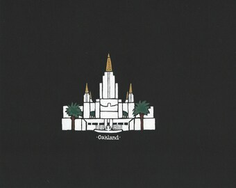 Oakland LDS Temple acrylic painting 8x10