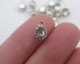 12 Rhinestone charms 8 x 6mm silver tone I179