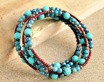 aqua copper beaded bracelet, bohemian jewelry, memory wire bracelet, gift for her, under 20