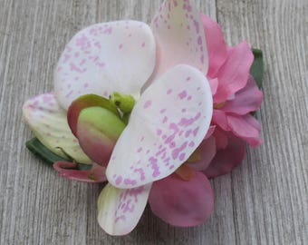 Hawaiian - Tropical - white pink orchid - hair clip - Wedding-