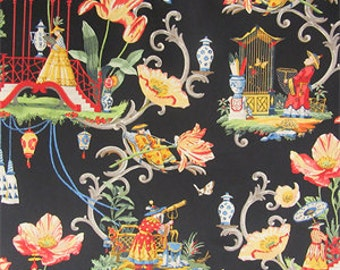 Two 26 x 26 Custom Designer Decorative Pillow Covers Euro - Chinoiserie Toile Black Red Yellow  Blue