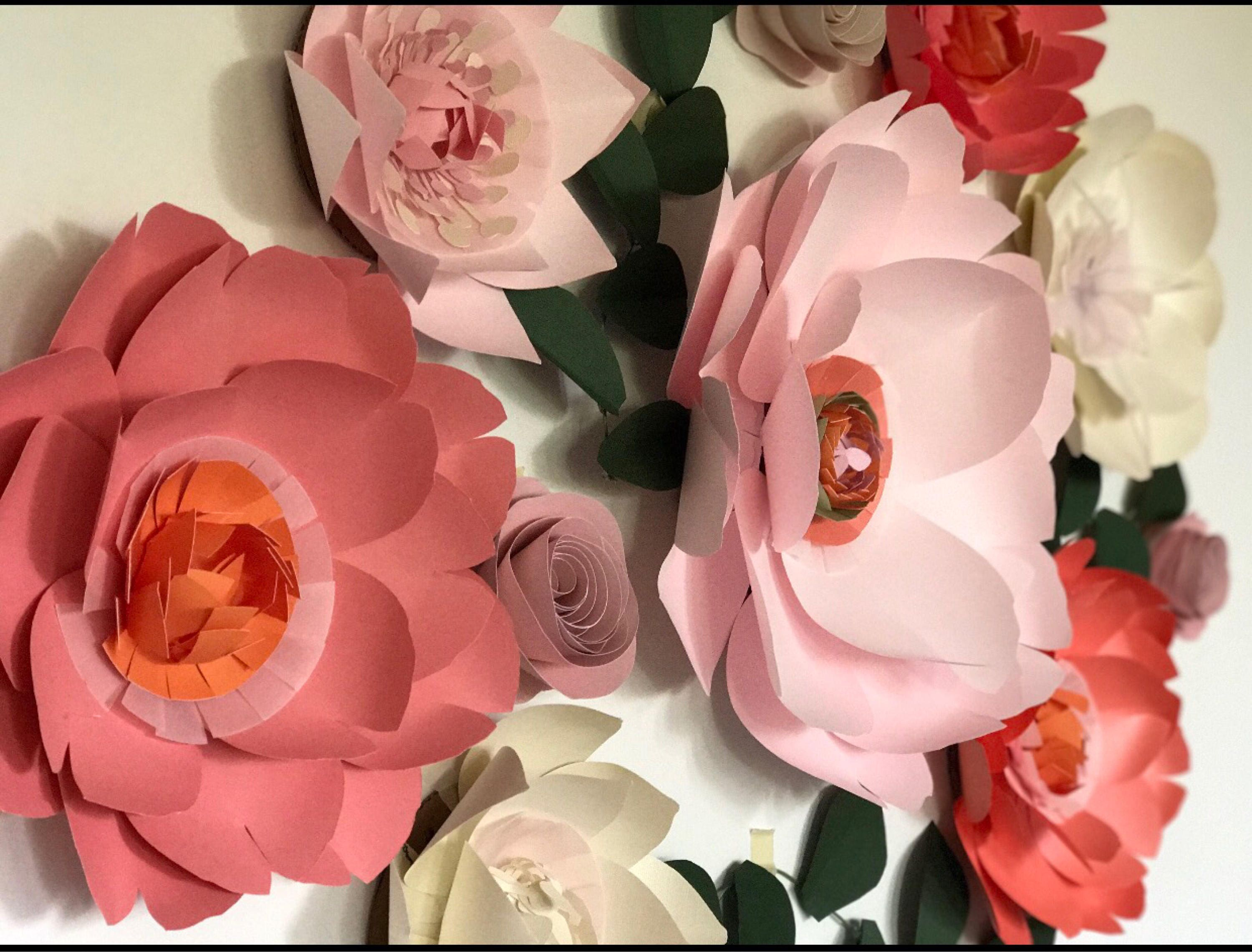 Paper flowers wall decor coral paper flowers above the crib decor coral paper flowers wall decor wedding gallery photo gallery photo mightylinksfo