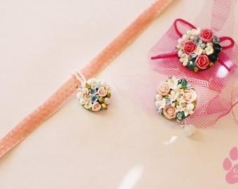 Choker Flower Necklace Charm Pink Velvet Choker Flower bracelet Rose Choker romantik Wedding Bridal Jewelry Gift for Her polymer clay rose