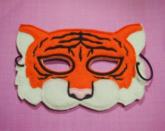 Tiger Mask Felt Mask |  Zoo Animal Mask Adult Mask Children's Mask Halloween Mask Easter Basket Mask Jungle party Safari Party favors