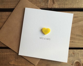 MRS & MRS Wedding Day Card with Yellow detachable Love Heart magnet keepsake