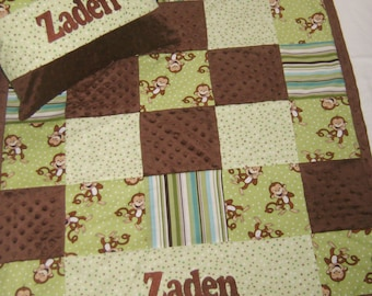Giggle Monkey Greens and Browns Patchwork Baby Blanket-Baby Monkey Bedding-Baby Blanket Woodland