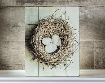 "IN STOCK: Mother's Day Gift 11x14"" Wood Sign Birds Nest Rustic Kitchen Decor Farmhouse Living Room Decor Eggs in Nest Gifts for Mom."
