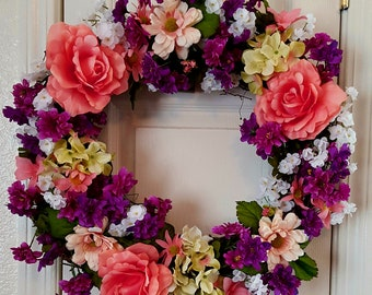Wreath for front door/Summer wreath/Spring wreath/Mothers Day wreath/Large wreath for front door/year round wreath/Free shipping