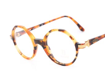 Fendi FV223 vintage round eyeglasses with tortoise frames and golden details