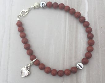 Red Jasper weight loss tracker bracelet, slimming aid, weight loss, lifestyle aid, weight watchers, gift for her, red jasper bracelet