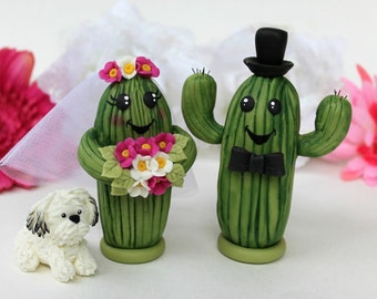 Saguaro cactus wedding cake topper, personalized cute bride and groom with banner, desert wedding