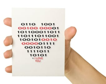 Valentines Day Card - Nerd Love Computer Card - Binary Code Heart - Red and Black 5 x 7 - Greeting Card