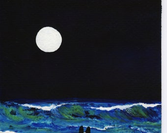 Border Collie Dog Seascape Beach Sea Ocean Wave Full Moon original art painting by Todd Young