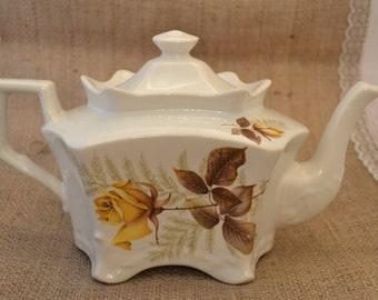 Vintage Kernewek Cornish Pottery Teapot With Yellow Rose