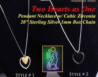 Stainless Two Hearts As One Necklaces 20 1mm Sterling Box Chain