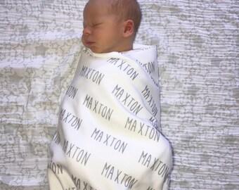 SALE* Personalized Baby Blanket, Thin Fleece Swaddle, Single Name Baby Blanket, Newborn Baby Girl, Baby Boy, Infant Receiving Blanket