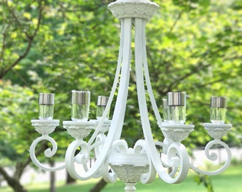 Solar chandelier etsy outdoor chandelier wedding chandelier solar powered garden chandelier solar lights solar mozeypictures Image collections
