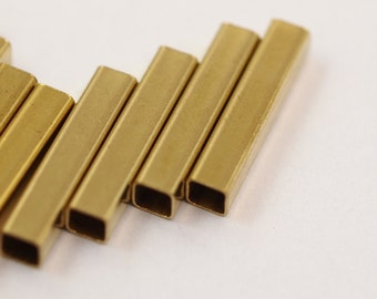 Square Tube 20 Pcs 20 x 4 mm (hole 3.4 mm) industrial brass Charms,Pendant, Raw Brass spacer bead E204S59