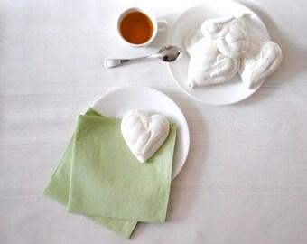 Mint Linen Napkins SET of 4 - Spring Green Cloth Napkins - Table Decor - Kitchen Food Napkins (Ready to Ship)