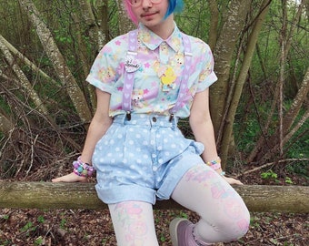 Vintage Animals Short Sleeve Shirt, Fairykei Shirt