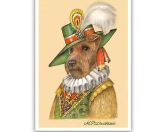 Irish Terrier Art Print - the Duke - Dogs in Clothes, Terrier Art - Pet Kingdom by Maria Pishvanova