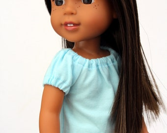 SAMPLE SALE - Fits like Wellie Wishers Doll Clothes - Short Sleeve Peasant Top in Light Blue   14.5 Inch Doll Clothes