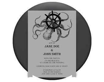 Custom Printable 5x7 Wedding Invitation - The High Seas