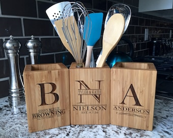 Personalized Bamboo Utensil Holder - 8 Designs Available
