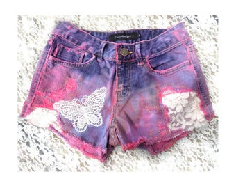 pink dyed shorts - OOAK painted shorts -pink upcycled shorts - pink denim shorts - upcycled high waisted shorts - size 2 -  # 8