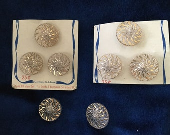 8 Vintage Glass Buttons, Germany, US Zone, Clear With Gold Original Card