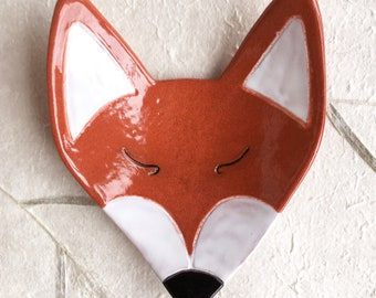 Fox Ceramic Dish, woodland, animal, catchall, jewelry, ring holder, decor, soap dish, candle holder, teabag holder, spoonrest.
