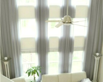 2 extra long sheer curtains for high ceiling 10 16 17 18 -24 ft feet different colors, custom made 120 inches wide 2 story drape FREE SWATCH
