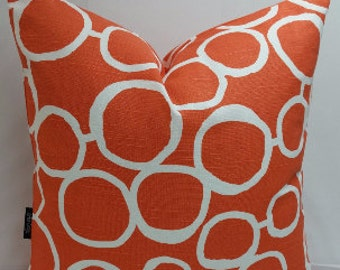 "Throw pillow, Freehand circles, 14""square, tangelo orange and white, cotton toss pillow"