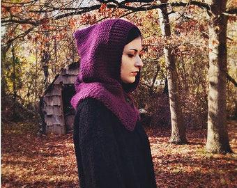 Handmade Knitted Pixie Hooded Cowl in Purple