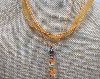 Orange lemon glass vial necklace jewelry