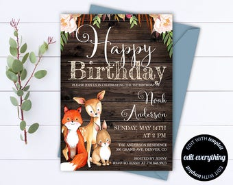 Woodland Birthday Party Invitation Template - Rustic Birthday Invitation Template - Woodland Invitation Template - First Birthday Party