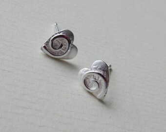 Silver Swirly Heart Studs