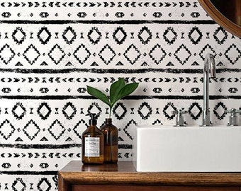 Monochrome Wallpaper/ Black and White Removable Wallpaper/ Self-adhesive Wallpaper / Aztec Pattern Wall Covering - 120