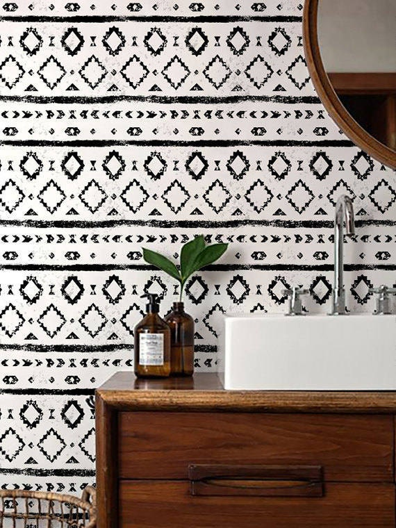 Monochrome wallpaper black and white removable wallpaper self adhesive wallpaper aztec pattern wall covering 120