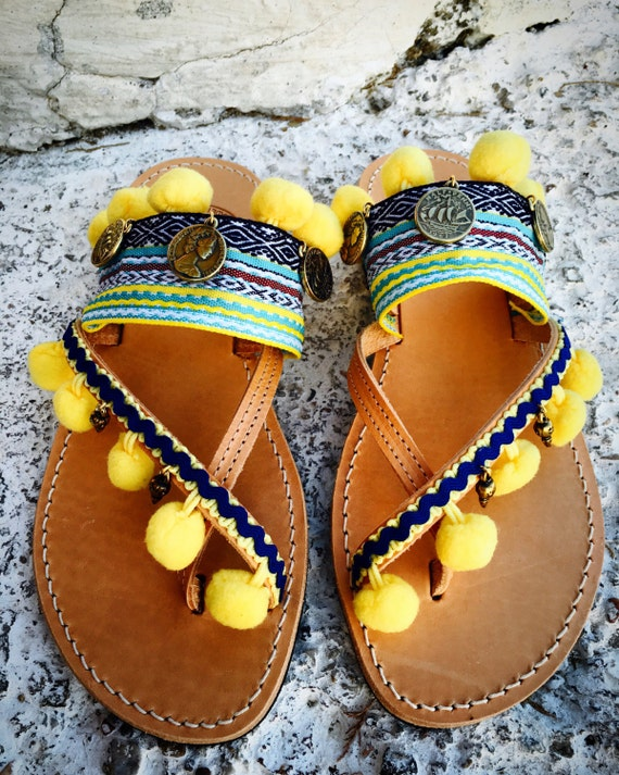 09512d36b ... flat sandals pompom ring sandals sandals leather boho bohemian toe  leather Handmade sandals ...